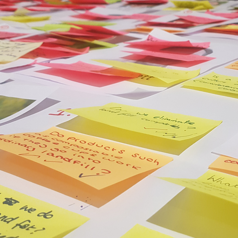 collection of pink, yellow and orange post it notes from the Climate Assembly UK